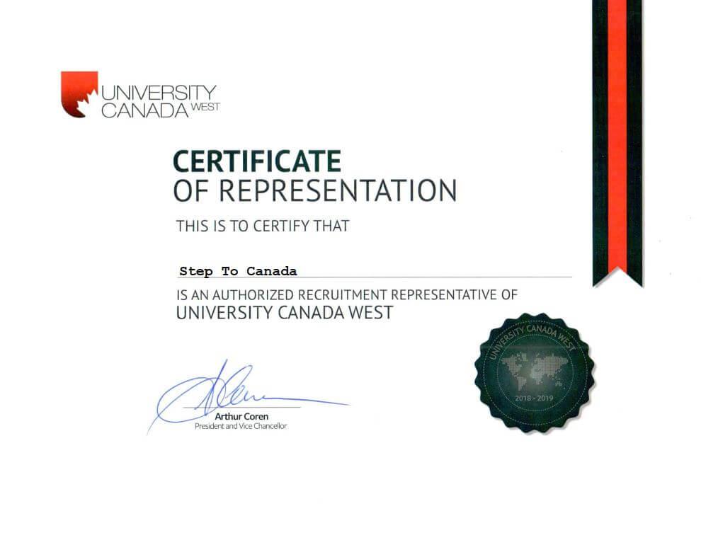 گواهینامه نمایندگی رسمی دانشگاه کانادا وست