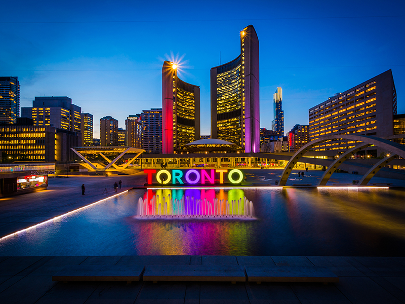 View of Nathan Phillips Square and Toronto Sign in downtown at n
